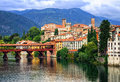 Bassano del grappa veneto italy small medieval town in the alps mountains region Royalty Free Stock Images