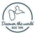 Basse-Terre Island Map Outline. Vintage Discover. Royalty Free Stock Photo