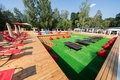 The basseyn in sokolniki is a good place to spend a holiday moscow jul with pool lounge chairs and tables for ping pong on july Stock Photo