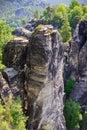 Bastei rock formations, Saxon Switzerland National Park, Germany Royalty Free Stock Photo