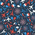 Bastille Day, Independence Day of France, symbols. Seamless pattern with symbol of celebration.
