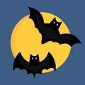 Bat cartoon flying wildlife mammal symbol spooky horror animal and mystery black waving halloween bird on full moon