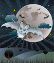Bat with a full moon  Stock Photos