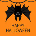 Bat hanging on the tree ring. Happy Halloween card. Cute cartoon character with big wing, ears and legs. Black silhouette. Forest Royalty Free Stock Photo