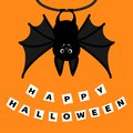 Bat hanging on the tree ring. Happy Halloween paper card. Cute cartoon character with big wing, ears and legs. Black silhouette. F Royalty Free Stock Photo