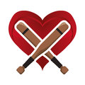 Bat heart baseball sport design