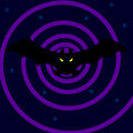 Bat in the night sky and purple spiral
