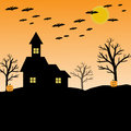 bat, pumpkin, house, moon and tree for halloween concept Royalty Free Stock Photo