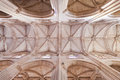 Batalha monastery gothic ceiling and columns of the church portugal unesco world heritage site Stock Photos