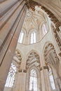 Batalha monastery gothic style columns and ornate ceiling in the capela do fundador founders chapel portugal unesco world heritage Royalty Free Stock Photography