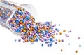 Batch of colorful plastic polymer granules on white background Stock Image