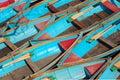 Bateaux d'aviron bleus de ci-avant Images stock