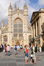 Bath Abbey and the Roman Baths in Bath England Royalty Free Stock Photography