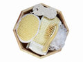 Bath accessories set top view image of to show many of for take a and cleaning body Royalty Free Stock Images