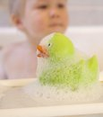 Bath duck and toddler boy green behind Royalty Free Stock Photo