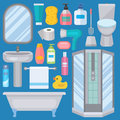 Bath equipment icons made in modern shower flat style colorful clip art illustration for bathroom interior hygiene