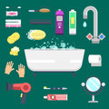 Bath equipment icons modern shower colorful illustration for bathroom interior hygiene vector design.