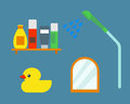 Bath equipment icons shower flat style colorful clip art illustration for bathroom hygiene vector design.