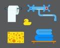 Bath equipment icons shower flat style colorful clip art illustration for bathroom hygiene vector design.