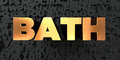 Bath - Gold text on black background - 3D rendered royalty free stock picture