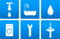 Bath objects on blue background Royalty Free Stock Image