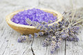 Bath salt for aromatherapy and dried lavender Royalty Free Stock Photo