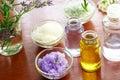 Bath salt with aromatherapy oil Royalty Free Stock Photo