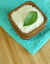 Bath salt in  bowl and towel Royalty Free Stock Photo