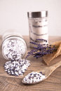 Bath salt with lavender flavour picture of Stock Image