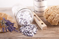 Bath salt with lavender flavour picture of Royalty Free Stock Photography