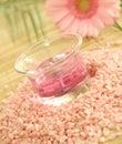 bath salt, pink candle and pink gerber Royalty Free Stock Photo