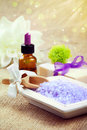 Bath salt with soap and essential oil Stock Photo