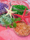 Bath salt and starfishes Royalty Free Stock Photos
