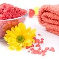 Bath salt, towel and flower Stock Images