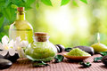 Bath salts and body oil on wooden mat nature leaves bokeh background horizontal composition Royalty Free Stock Photography