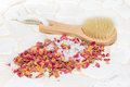 Bath salts and rose petal potpourri Royalty Free Stock Photo