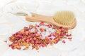 Bath salts and rose petal potpourri Royalty Free Stock Photo