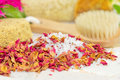 Bath salts and rose petals Royalty Free Stock Photo