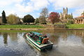 Bath scenery the cathedral and garden seen across river avon in england Royalty Free Stock Photos