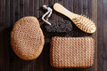 Bath set of accessories over wooden surface Royalty Free Stock Image
