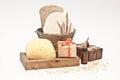 Bath set with soap oil and sponge Stock Photos