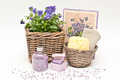 Bath set with soap salt and candle Royalty Free Stock Photos