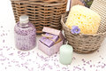 Bath set with soap salt and candle Stock Image