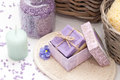 Bath set with soap salt and candle Stock Photography