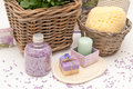 Bath set with soap salt and candle Stock Images
