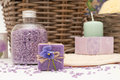 Bath set with soap salt and candle Royalty Free Stock Image