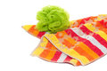 Bath set washer towel warm bright colours green yellow orange red Stock Image