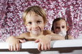 Bath time is fun - young children getting clean Royalty Free Stock Photography