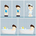 Bath toilet shower time salary man cartoon lifestyle illustration. Royalty Free Stock Photo