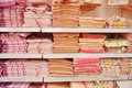 Bath towels on the shelves Royalty Free Stock Photography